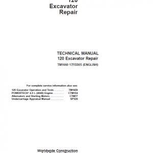 John Deere 120 Excavator Repair Service Manual
