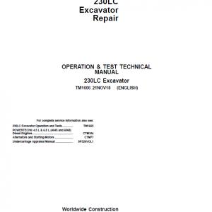 John Deere 230LC Excavator Repair Service Manual
