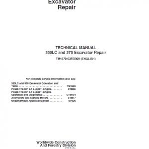 John Deere 330LC, 370 Excavator Repair Service Manual