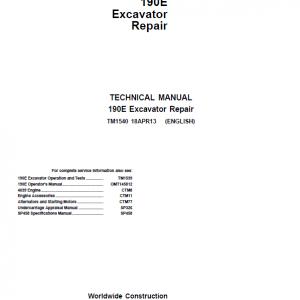 John Deere 190E Excavator Repair Service Manual