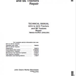 John Deere 6010, 6110, 6210, 6310, 6410, 6510, 6610 Tractor Service Manual