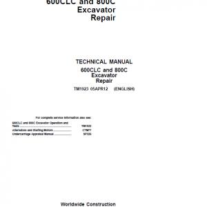 John Deere 600CLC, 800C Excavator Repair Service Manual