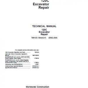 John Deere 120C Excavator Repair Service Manual