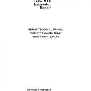 John Deere 135C RTS Excavator Repair Service Manual