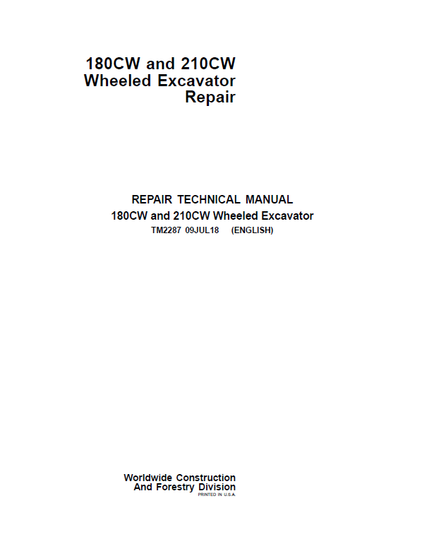 John Deere 180CW, 210CW Wheeled Excavator Repair Service Manual