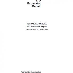 John Deere 17D Excavator Repair Service Manual
