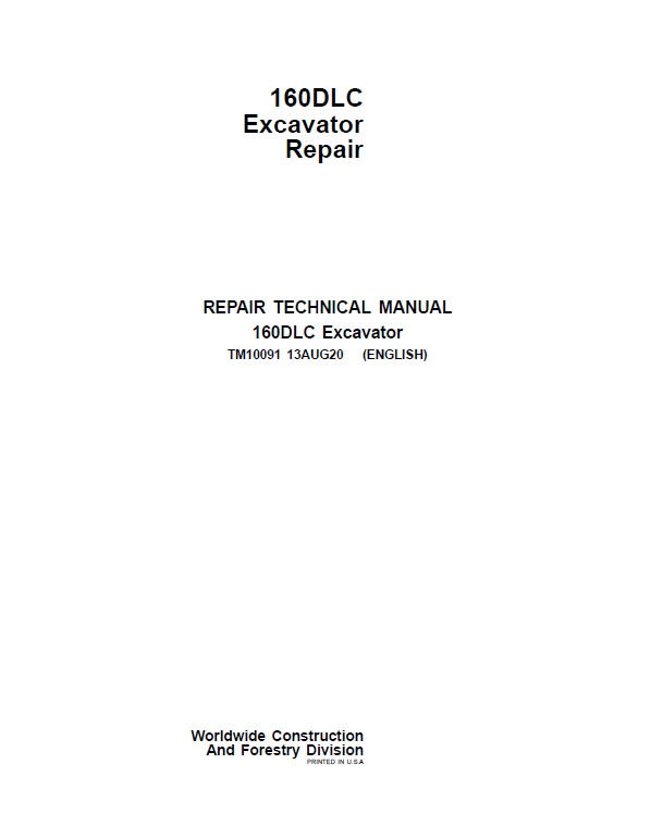 John Deere 160DLC Excavator Repair Service Manual