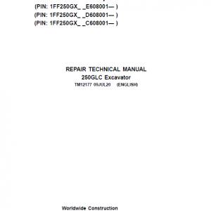 John Deere 250GLC Excavator Service Manual (PIN: 1FF250GX_C608001, D608001, E608001 - )