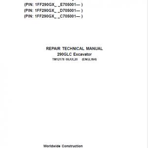 John Deere 290GLC Excavator Service Manual (S.N after C705001, D705001, E705001)
