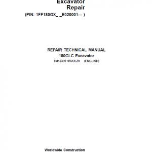 John Deere 180GLC Excavator Repair Service Manual (S.N after E020001 -)