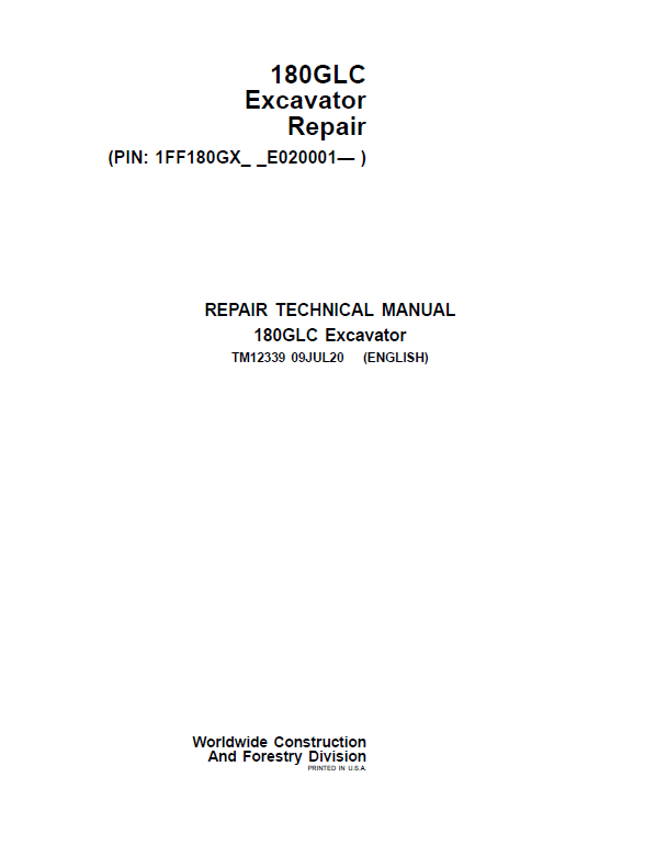 John Deere 180GLC Excavator Repair Service Manual (S.N after E020001 -)