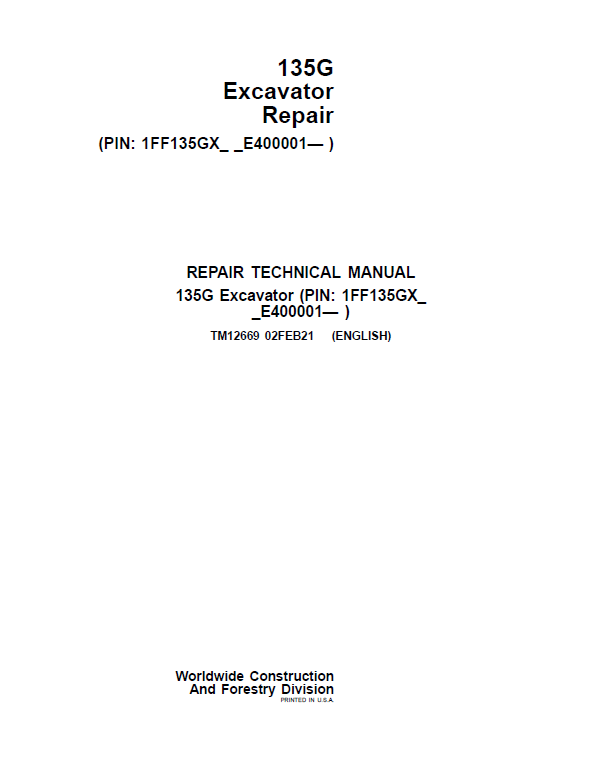 John Deere 135GLC Excavator Repair Service Manual (S.N after E400001 - )