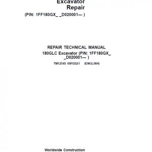 John Deere 180GLC Excavator Repair Service Manual (PIN: 1FF180GX_ _D020001- )