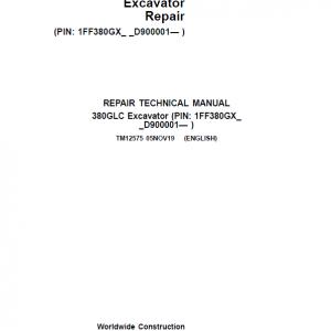 John Deere 380GLC Excavator Repair Service Manual (S.N after D900001 - )