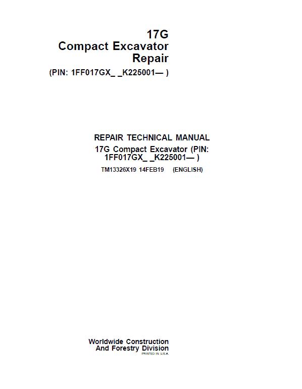 John Deere 17G Excavator Repair Service Manual (S.N after K225001)