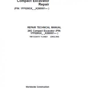 John Deere 26G Excavator Repair Service Manual (S.N after K260001)