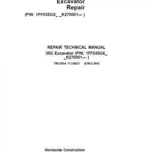 John Deere 35G Excavator Repair Service Manual (S.N after K270001)