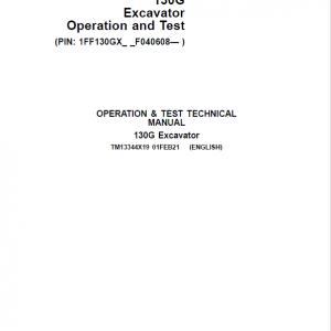 John Deere 130GLC Excavator Repair Service Manual (S.N after F040608 - )