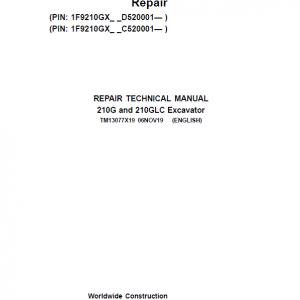 John Deere 210G, 210GLC Excavator Repair Service Manual (S.N after C520001 & D520001- )