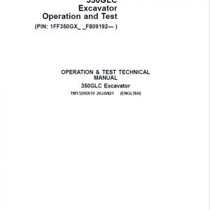 John Deere 350GLC Excavator Repair Service Manual (S.N after F809192 - )