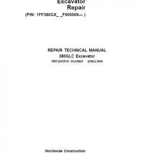 John Deere 380GLC Excavator Repair Service Manual (S.N after F900006 - )