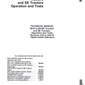 John Deere 6010 SE, 6110 SE, 6210 SE, 6310 SE, 6410 SE, 6510 SE, 6610 SE Tractor Manual