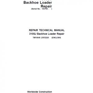John Deere 310SJ Backhoe Loader Repair Service Manual (S.N after 159760 - )