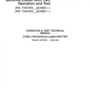 John Deere 310SK, 410K Backhoe Loader (TMC) Repair Service Manual (S.N after E219607 - )