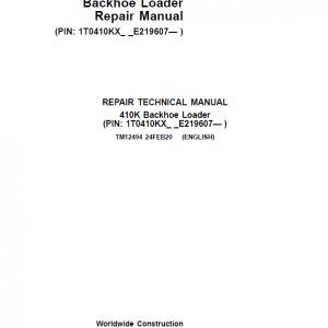 John Deere 410K Backhoe Loader Repair Service Manual (S.N after E219607 - )