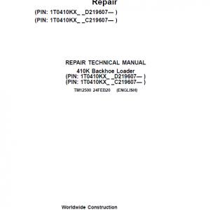 John Deere 410K Backhoe Loader Repair Service Manual (S.N after C219607 & D219607 - )