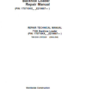 John Deere 710K Backhoe Loader Repair Service Manual (S.N after E219607 - )