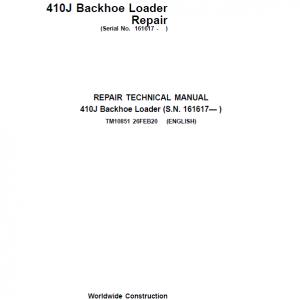 John Deere 410J Backhoe Loader Repair Service Manual (S.N after 161617 - )