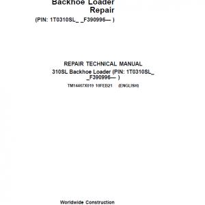 John Deere 310SL Backhoe Loader Repair Service Manual (S.N after F390996 -)