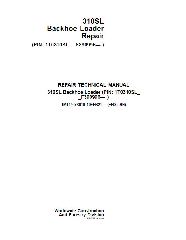 John Deere 310SL Backhoe Loader Repair Service Manual (S.N after F390996 -)