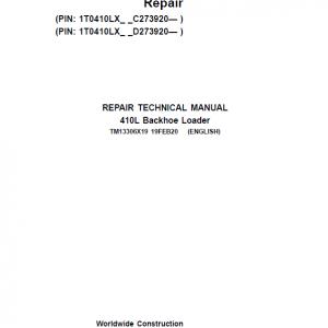John Deere 410L Backhoe Repair Service Manual (S.N after C273920 & D273920 - 390995)