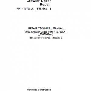John Deere 700L Crawler Dozer Repair Service Manual (S.N after F383562 - )