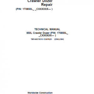 John Deere 850L Crawler Dozer Repair Service Manual (S.N after CXXXXXX - )