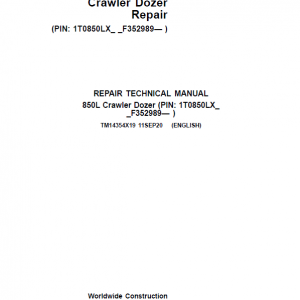 John Deere 850L Crawler Dozer Repair Service Manual (S.N after F352989 - )