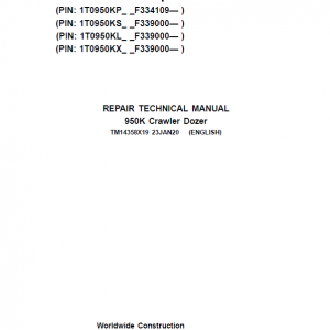John Deere 950K Crawler Dozer Repair Service Manual (S.N after F334109 - )