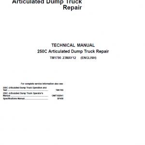 John Deere 250C Articulated Dump Truck Repair Service Manual