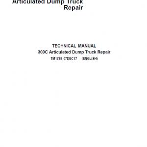 John Deere 300C Articulated Dump Truck Repair Service Manual
