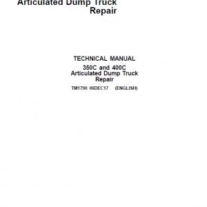 John Deere 350C, 400C Articulated Dump Truck Repair Service Manual