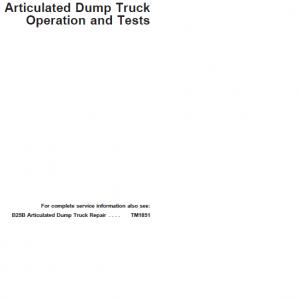 John Deere B25B Articulated Dump Truck Repair Service Manual
