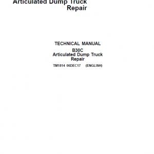 John Deere B30C Articulated Dump Truck Repair Service Manual
