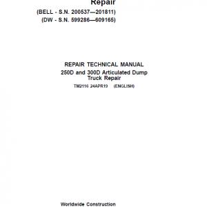 John Deere 250D, 300D Dump Truck Service Manual (DW & BELL - S.N. 200537—201811)