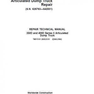 John Deere 350D, 400D Series 2 Dump Truck Service Manual ( S.N. 626763—642001)