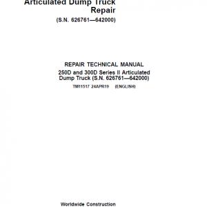 John Deere 250D, 300D Series 2 Dump Truck Service Manual (S.N. 626761—642000)