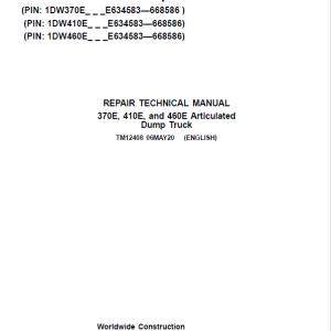 John Deere 370E, 410E, 460E Dump Truck Service Manual (S.N. E634583 - E668586 )