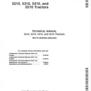 John Deere 5210, 5310, 5410, 5510 Tractors Repair Service Manual
