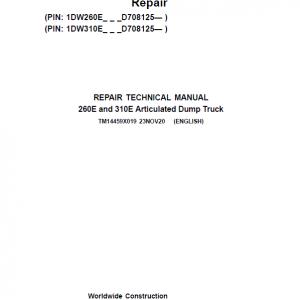 John Deere 260E, 310E Articulated Dump Truck Service Manual (S.N. D708125 - )